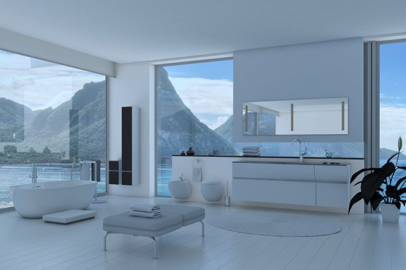 La naturaleza es el marco perfecto para complementar este moderno baño.