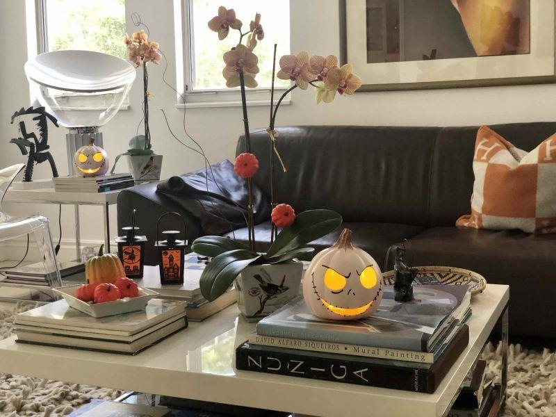 En Halloween decora el salón de tu hogar con calabazas que puedas prender durante la noche, pequeñas calabazas colocadas en las varas de las Phalaenopsis, buhos otros objetos alegóricos a la festividad
